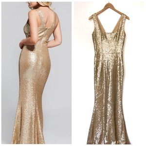 Dress the Population | NWOT Gold Sequin Gown